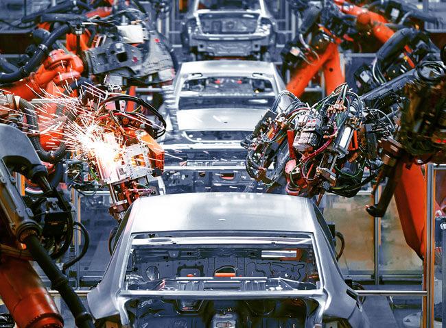 An automated car construction line