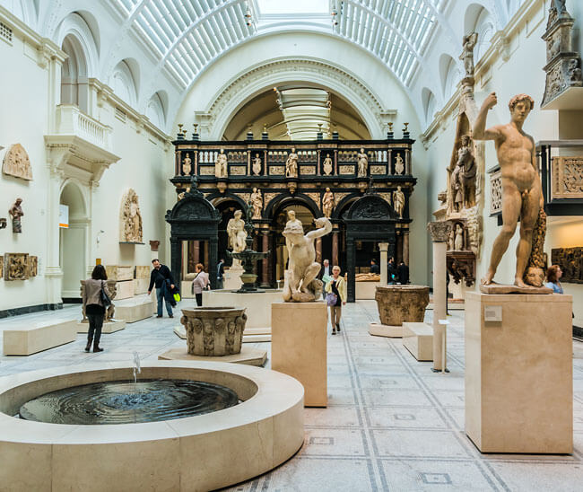 A museum with statues
