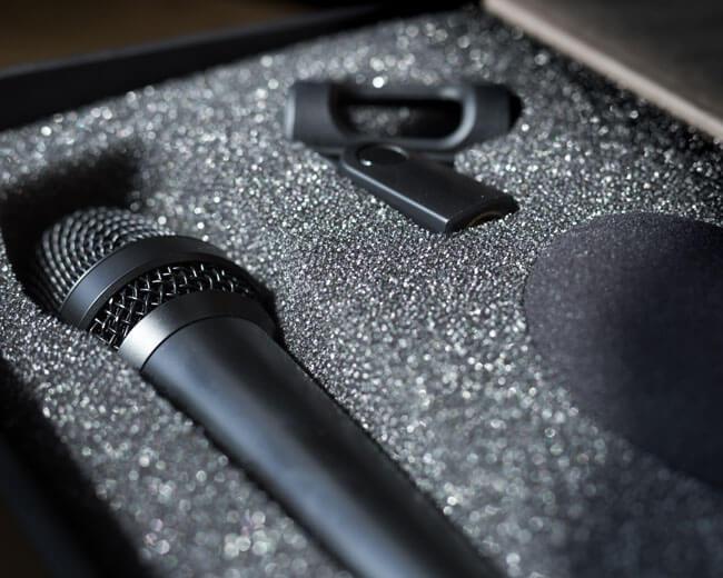 A microphone in a case