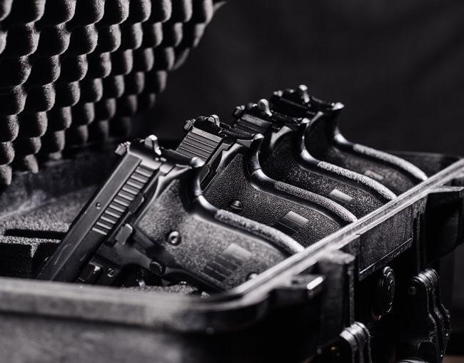 Guns in a case